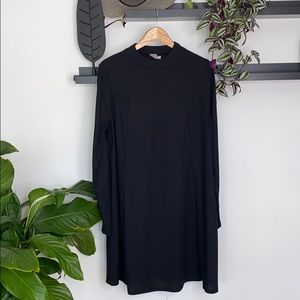 asos Black ribbed swing dress size 16